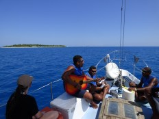 Singing on the boat to Bounty Island.