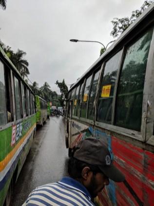 On a rickshaw in Dhaka.