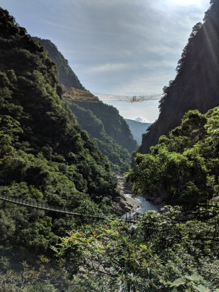 Taroko Gorge - spot the high bridge.