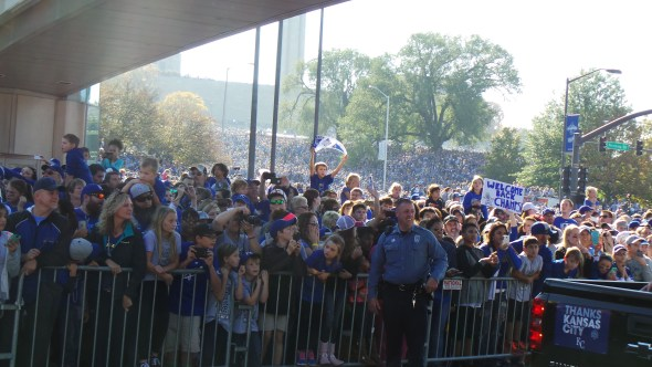 This was what awaited the players as they emerged from under the skywalk. A sea of 500,000 Royals fans stacked up like cord wood.