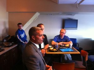 Members of #BlogToTheK interview Royals General Manager Dayton Moore (Kamler Photo)