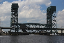 Gilmerton Bridge, and behind it, Norfolk Southern Railroad Bridge #7.