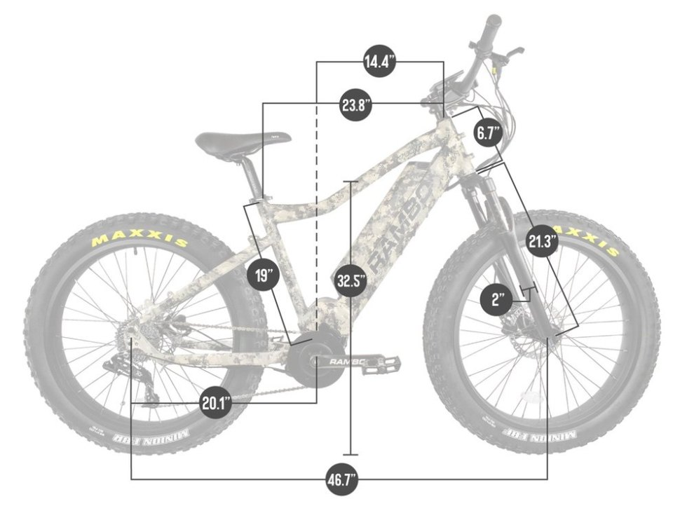Rambo Nomad 750w electric bike dimensions