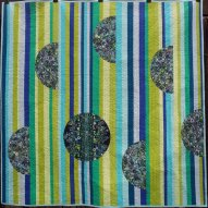 Aqua Lime Modern Quilt Handmade