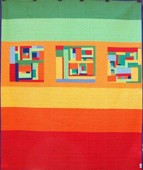 Bahama Bungalow back Modern Quilt Handmade