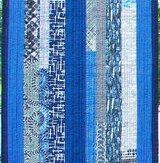 Blue Brushstroke Modern Quilt Table Runner Handmade