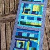 Blue Greenies Modern Quilt Table Runner Handmade