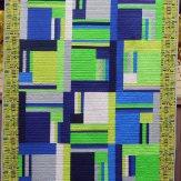 Custom Blue Green Modern Quilt Handmade