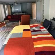 Linear Modern Quilt Handmade in home