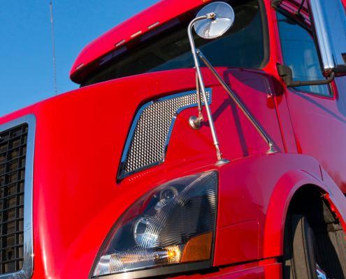 Modern red semi truck