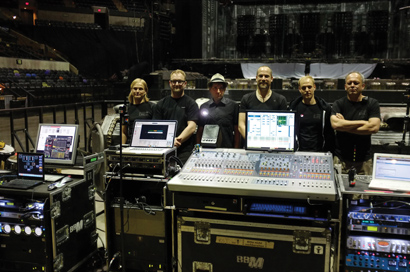 "The Rammstein tour sound crew, from left: techs Christian Damm and Jonas Fengler, FOH mixer Olsen Involtini, monitor engineer Alexander Becker, system tech Manuel Schröder and sound crew chief/system tech Andreas ""Vadda"" Vater."