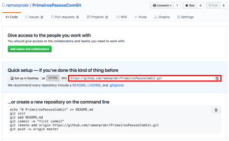 Tela de repositório criado no GitHub