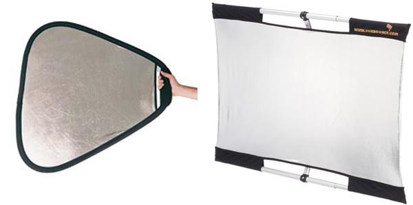 Reflectores con diferentes formas y superficies