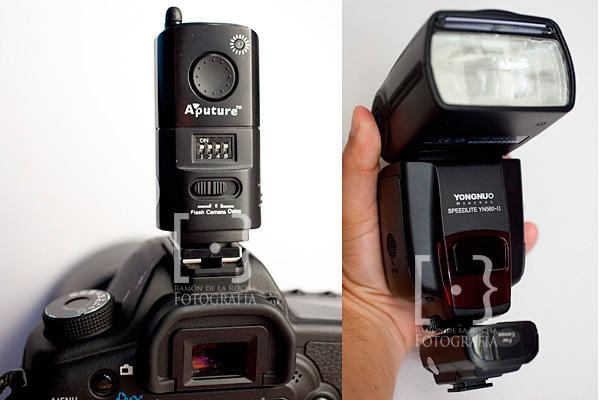 Emisor y receptor Trigmaster de Aputure en cámara y en flash respectivamente