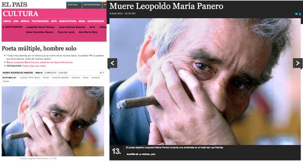 Fotografía que tomé aquel día a Panero y que publica hoy El País en su edición digital