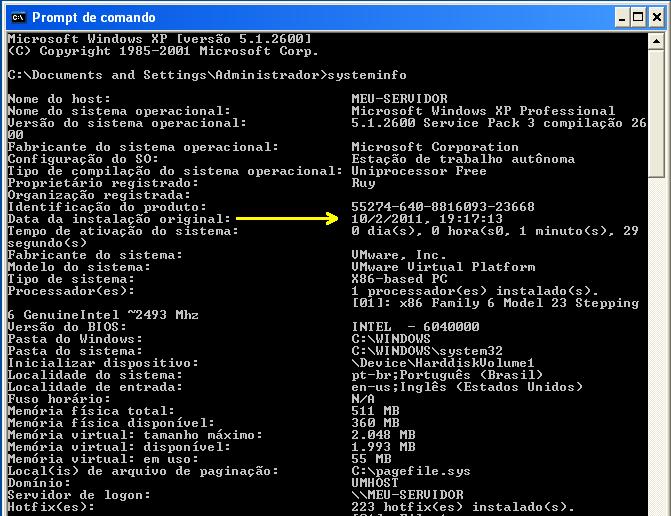Data da Instalação Original Windows | Ramos Consultoria