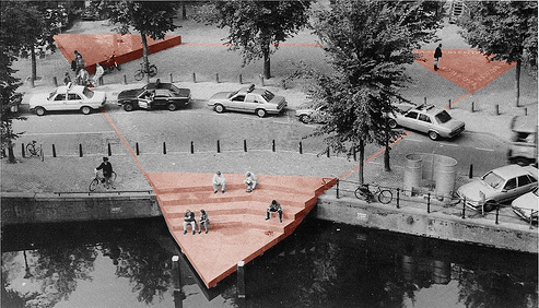 he Homomonument in Amsterdam (color-manipulated photograph) uploaded by BoBink on Wikicommons