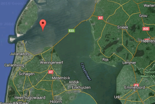 Screenshot Google Maps 2016 by IJsbrand Wildeman (The 1996 Dakota-crash in the Wadden Sea)