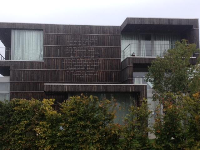 Op de terugweg naar het station zag ik een aantal vrijstaande woningen waarbij er gedichten op de zijkant van de woning zichtbaar waren door Marleen Veninga (Veldwerk Vuurwerkramp in Enschede)