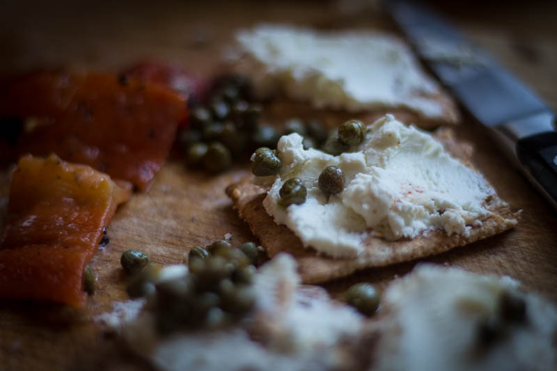 Roasted peppers, goat cheese and capers
