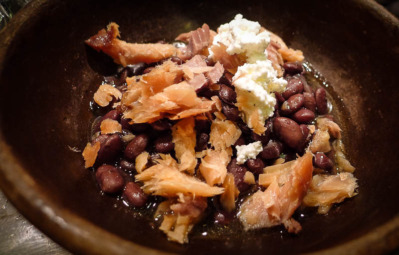 Rancho Gordo Brown Tepary beans with smoked trout and ricotta cheese