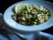 Rancho Gordo Flageolet heirloom beans in a lemon vinaigrette