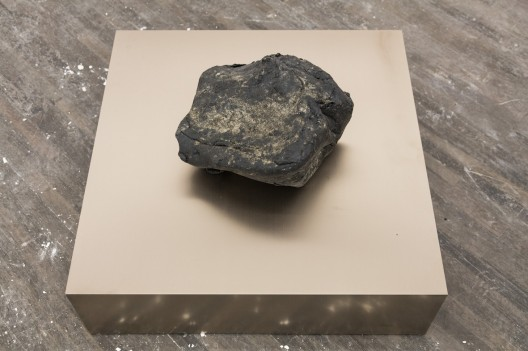 Chew 咀嚼, SU Chang 苏畅, 2015. Asphalt 沥青, 36cm x 36cm x 8cm (底座:70 x 70 x 20.5 cm)