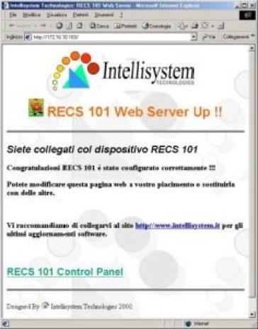 Fig. 7 - Home page personalizzabile del dispositivo RECS 101