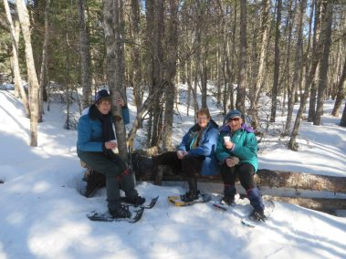 Spring snowshoers on Rotary Trail
