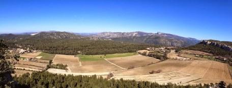 Panoramique depuis le piton rocheux du Vieux Roquefort
