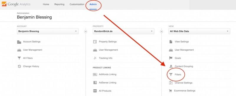 Google Analytics Filter einrichten (Bild: Screenshot Google Analytics).