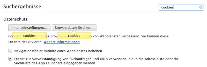 Google Chrome Cookie Einstellungen (Bild: Screenshot Google Chrome).
