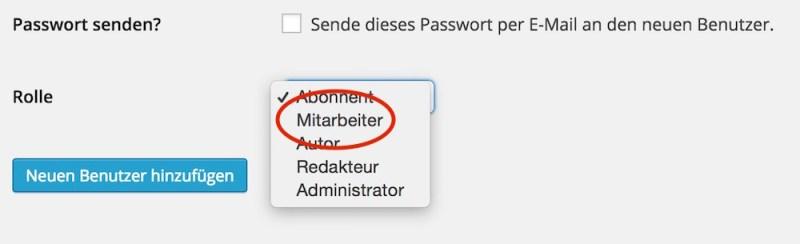 Unterschiedliche Benutzer für Admin und Blog Aufgaben erstellen (Bild: Screenshot).
