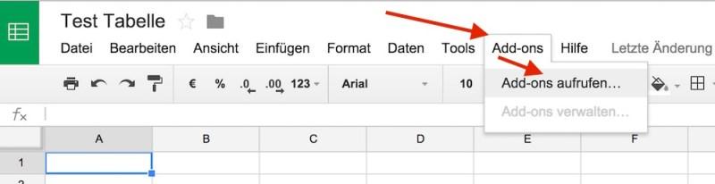 Über Add-ons lassen sich zusätzliche Funktionen zu Google Tabellen hinzufügen (Bild: Screenshot Google Tabellen).