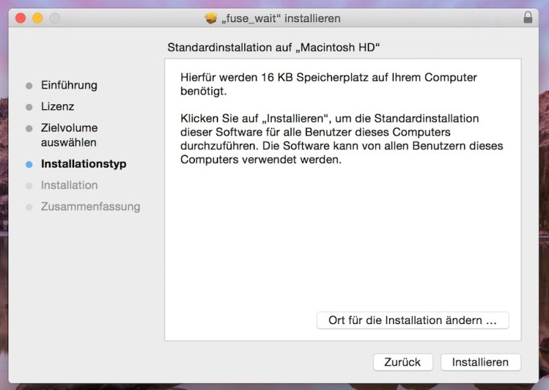 Fuse-wait entfernt Fehlermeldung unter macOS