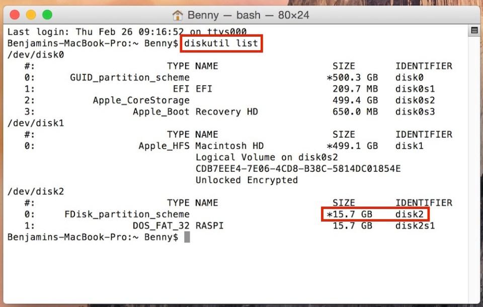 Ausgabe von diskutil list über den macOS Terminal (Bild: Screenshot macOS).