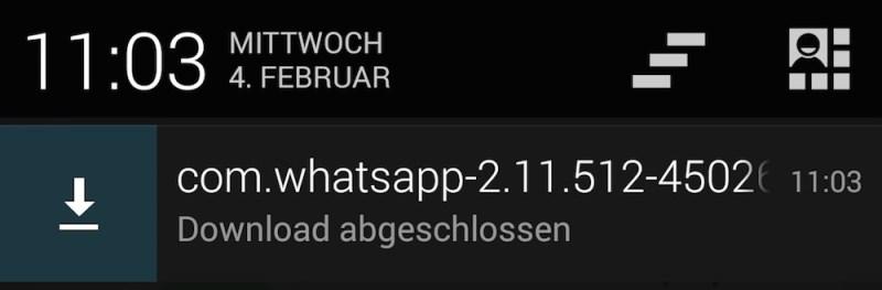 Die Installation kann direkt aus der Android Nachrichtenzentrale gestartet werden (Bild: Android Screenshot).