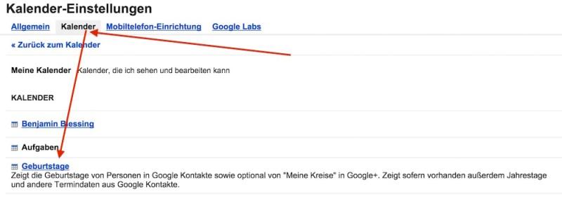 Google+ Geburtstage aus dem Google Kalender löschen (Bild: Screenshot Google Kalender).