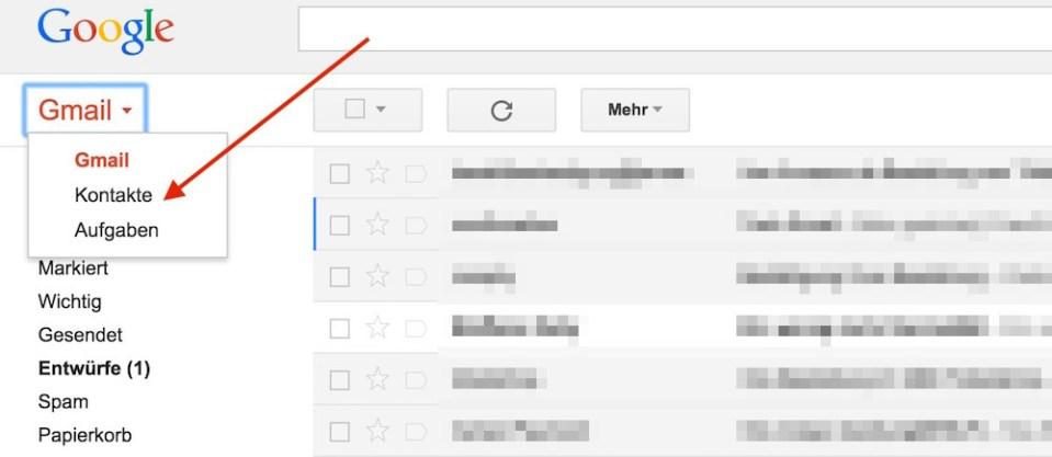 Google Kontakte in Gmail öffnen (Bild: Screenshot Gmail).