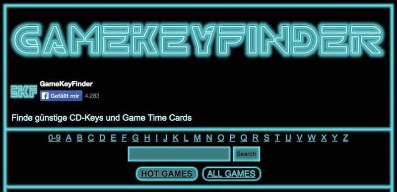 Die Webseite von gamekeyfinder.de kommt im Tron-Look Design (Bild: Screenshot gamekeyfinder.de).