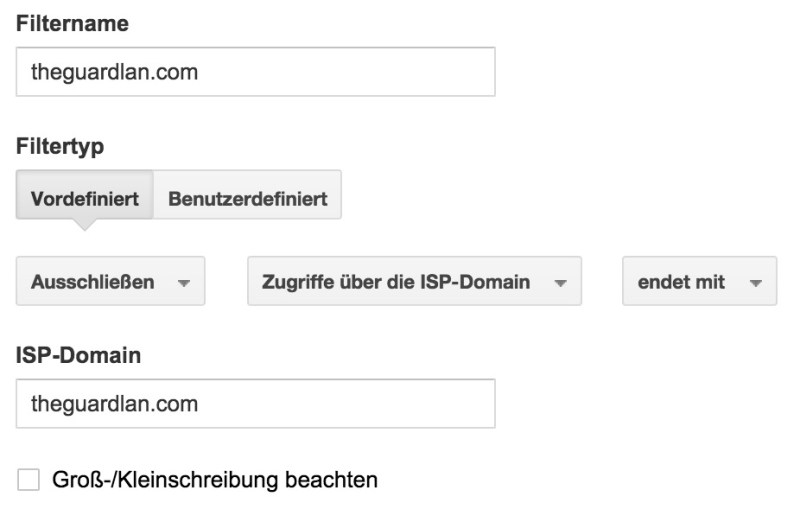 Filter 1 in Google Anaytics (Bild: Screenshot Google Analytics).