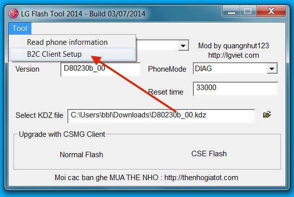 LG Flash Tool 2014 Einstellungen (Bild: Screenshot LG Flash Tool 2014).