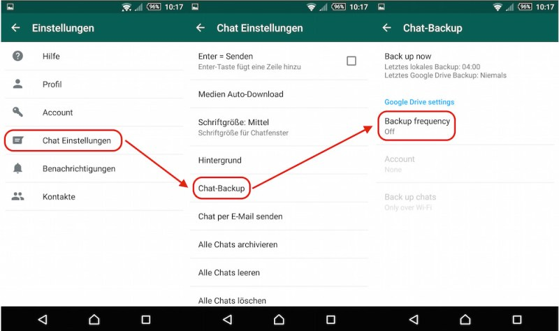 WhatsApp Backup-Funktion mit Google Drive aktivieren (Bild: Screenshot WhatsApp).