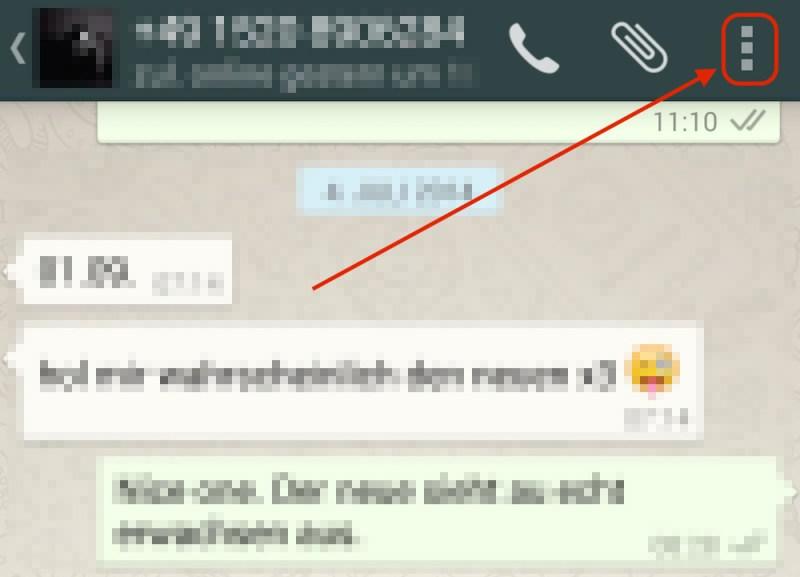 Kontaktspezifische Einstellungen über das Menü oben rechts aufrufen (Bild: Screenshot WhatsApp).