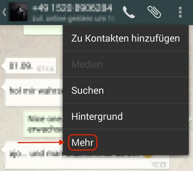 """In den kontaktspezifischen Einstellungen befindet sich die Option """"Mehr"""" (Bild: Screenshot WhatsApp)."""