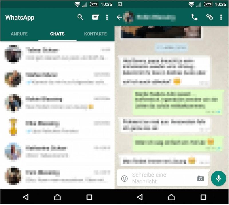 WhatsApp Material Design (Bild: Screenshot WhatsApp).