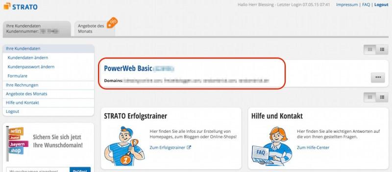 Webhosting Paket im Strato Kundencenter auswählen (Bild: Screenshot Strato.de).