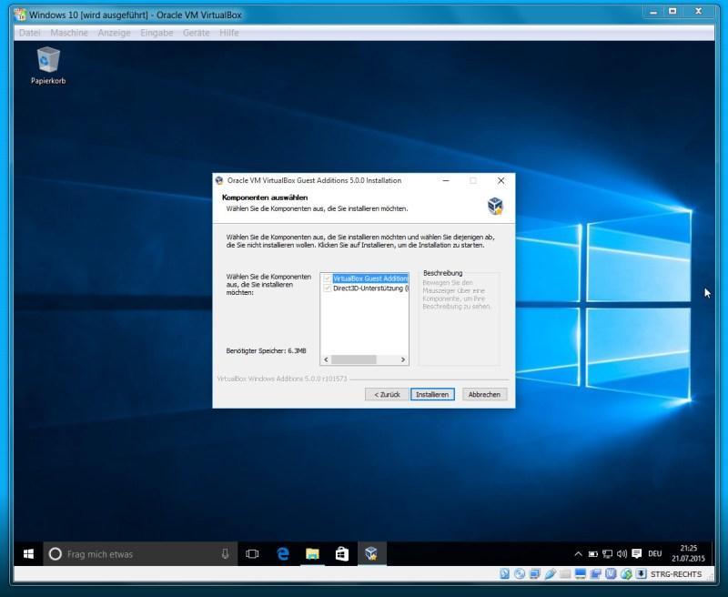 Die VboxGuestAdditions.iso ermöglicht Direct3D Unterstützung im Gastsyste, (Bild: Screenshot VirtualBox).