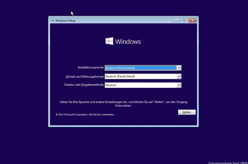Windows 10 installieren (Bild: Screenshot Windows 10).