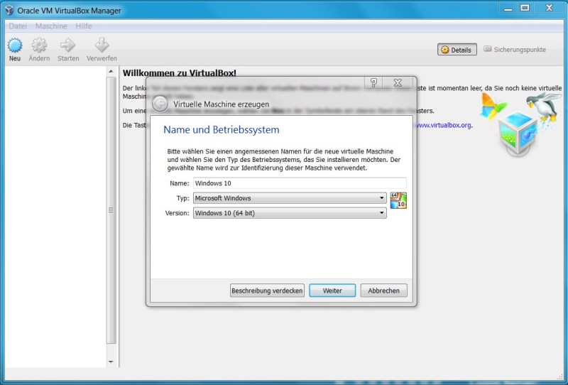 VirtualBox neue virtuelle Maschine (Bild: Screenshot Virtual Box).